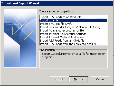 Import and Export Wizard in Microsoft Outlook 2007