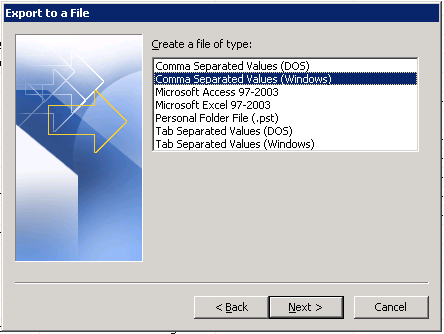 Export to a file dialog in Microsoft Outlook 2007