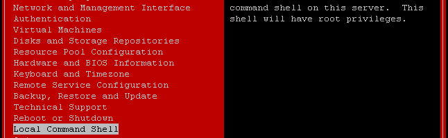 xsconsole on XCP 1.1